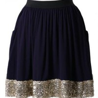 Navy Skater Skirt with Sequin Embellished Hemline