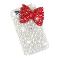 Amazon.com: Top-Store New Classic Bling Red Bownot Full Pearls Diamond Crystal Hard Case Cover for Iphone 4 / 4s / 4g: Cell Phones &amp; Accessories