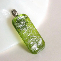 Spring Green and Silver Glass Pendant