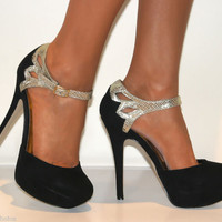 LADIES BLACK GOLD GLITTER SUEDE STRAPPY SANDALS PLATFORMS HIGH HEELS COURT SHOES