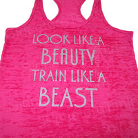 Look Like A BEAUTY train like a BEAST Womens Workout Tank top Racer back Burnout clothing fitness gym cobalt