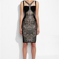 Herve Leger Black Embroidery Bandage Dress