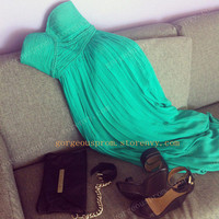 Chic Green chiffon dress/Graduation Dress