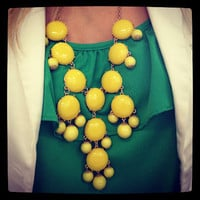 Color Full BIB Statement Bubble Necklace - Yellow