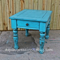 Turquoise Blue/ Night Stand /End Table/ Side Table/ Vintage /Shabby Chic /Distressed /Bedroom Furniture
