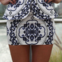 White Peplum Mini Skirt with Purple&amp;Black Baroque Print