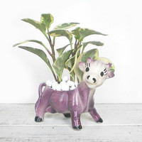 Purple Cow Planter Spring Home Decor by RhettDidntGiveADamn