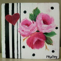 Romantic Shabby Sweet Roses Shelf Art - marilynkelleyart.com