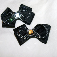 set of fancy black pigtail bows by mylittlebows on Etsy
