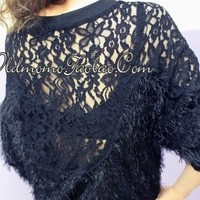 Back full lace hollow plush smock