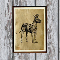 Great Dane dog print Old paper Antiqued decoration vintage looking 8.3 x 11.7 inches
