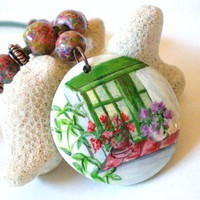Hand Painted Pendant Flowers in a Window Garden Still Life Red Pink Green | JewelryArtByDawn - Jewelry on ArtFire