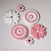 Magnet Flowers Set of 6 Pink & White Cardstock Paper Flowers