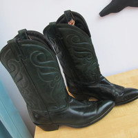 vintage hunter green, evergreen leather cowgirl boot. womens boot size 8.5 to 9. mens size 7. green cowboy boot