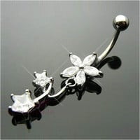 Flower Barbell Star Dangle Navel Belly Ring Clear Crystal Body Piercing Jewelry
