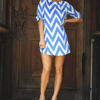 RESTOCK: Everly Joy For Chevron Dress: Periwinkle | Hope&#x27;s