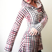 Just One Victory - iheartfink Handmade Hand Printed Womens Fashion Artistic Plaid Hoodie Tunic Mini Dress