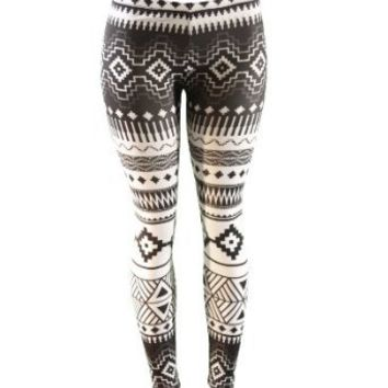 Amazon.com: Native American Black and White Pattern Leggings: Clothing