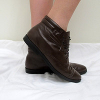 Vintage Chocolate Brown Lace Up Roper Boots Ankle High Leather Womens Granny