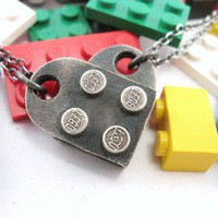 Interlocking Block Heart Pendants Set of 2 Building by rubygirl