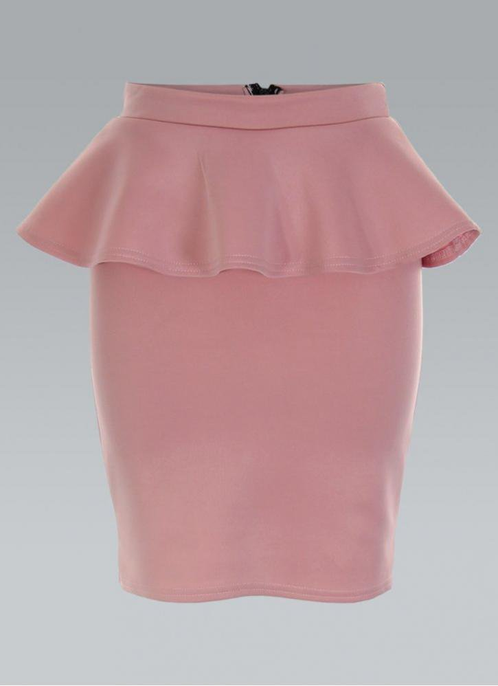 light baby pink peplum pencil skirt with from ustrendy