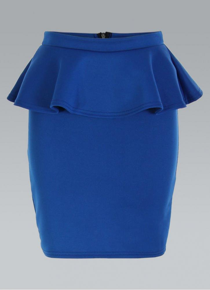 royal blue peplum pencil skirt with high from ustrendy