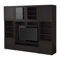 BEST TV storage combination - black-brown - 94 1/2x15 3/4x75 5/8 &quot; - IKEA