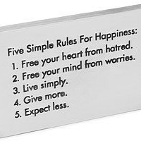 FIVE RULES FOR HAPPINESS PAPERWEIGHT | Five Rules for Happiness Paperweight Inspirational, Motivational Home or Office Tool | UncommonGoods