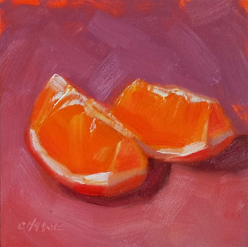Orange Slices 4 x 4 Original Daily Oil Painting by LittletonStudio