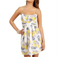 White/Yellow Floral Pleated Sundress