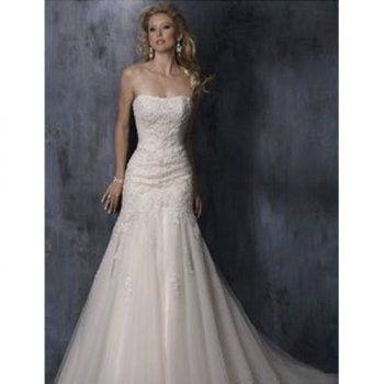 Elegant A-line Strapless Semi-Cathedral Embroidery Satin And Tulle Wedding Dress [TOQ0719001] - &amp;#36;162.00 :