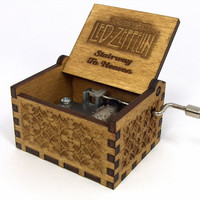 Engraved  wooden music box (Stairway to Heaven - Led Zeppelin)