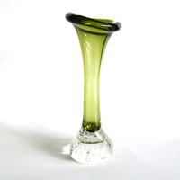 Swedish Glass Vase Aseda Olive Green Bubble Bone by pillowsophi