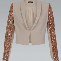 Beige Tailored Blazer with Gold Sequin Sleeves