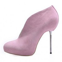 Bqueen Dermal Ultra Steel Ankle Boots Pink C068RF - Designer Shoes|Bqueenshoes.com