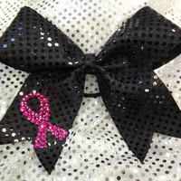 Pink &amp; Black Breast Cancer Awareness Cheer Cheerleading/Dance Ribbon Bow