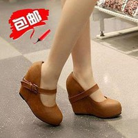 Retro khaki ultra- feminine single shoes