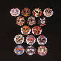 Lot of 15 Day of the Dead Sugar Skull PINBACK or by spikyjoo
