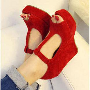 red t-straps with the slope with sandals
