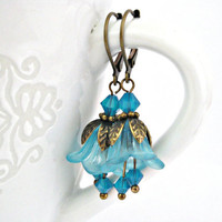 Blue bell lucite flowers brass earrings by TyssHandmadeJewelry