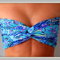 Blue Floral Paisley Bandeau Top - Spandex Bandeau - Bandeau
