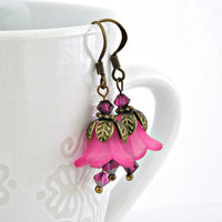 Hot pink bell lucite flowers brass earrings by TyssHandmadeJewelry
