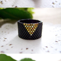 Black Cleopatra Ring Band Beaded Gold Triangle by JeannieRichard