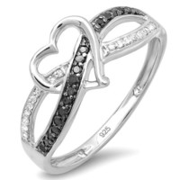 0.20 Carat (ctw) Sterling Silver Round Black &amp; White Diamond Ladies Promise Heart Love Criss Cross Overlap Engagement Ring 1/5 CT