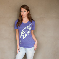 ZAP Ladies T-shirt - hand printed purple women's t-shirt