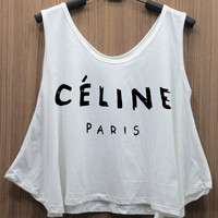 CELINE Paris Tank Top Mid riff Crop Top women shirt handmade