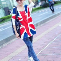 Korean Women Fashion Tee UK Flag 1016-wte Lady Batwing Long Sleeve T-SHIRT TOPS