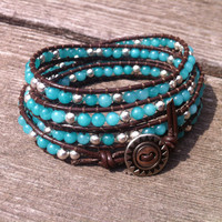 Beaded Leather 4 Wrap Bracelet with Southwestern Turquoise and Silver Beads on Brown Leather