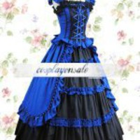 Royal Blue And Black Bandage Cotton Classic Lolita Dress [T110116] - $77.00 : Cosplay, Cosplay Costumes, Lolita Dress, Sweet Lolita