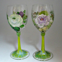 Hand painted Lead Free Crystal Wine by PaintedDesignsByLona